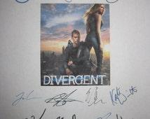 Divergent Signed Film Movie Screenplay Script X11 Autographs Shailene Woodley Theo James Ashley Judd Miles Teller Tony Goldwyn Kate Winslet