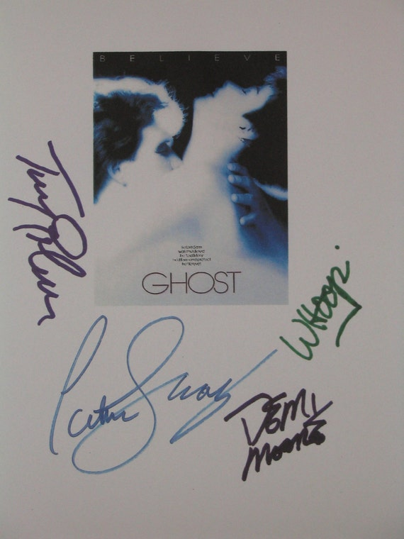 Ghost Signed Film Movie Screenplay Script X4 Autographs Whoopi Goldberg Patrick Swayze Demi Moore Tony Goldwyn Classic 80s Romantic Film