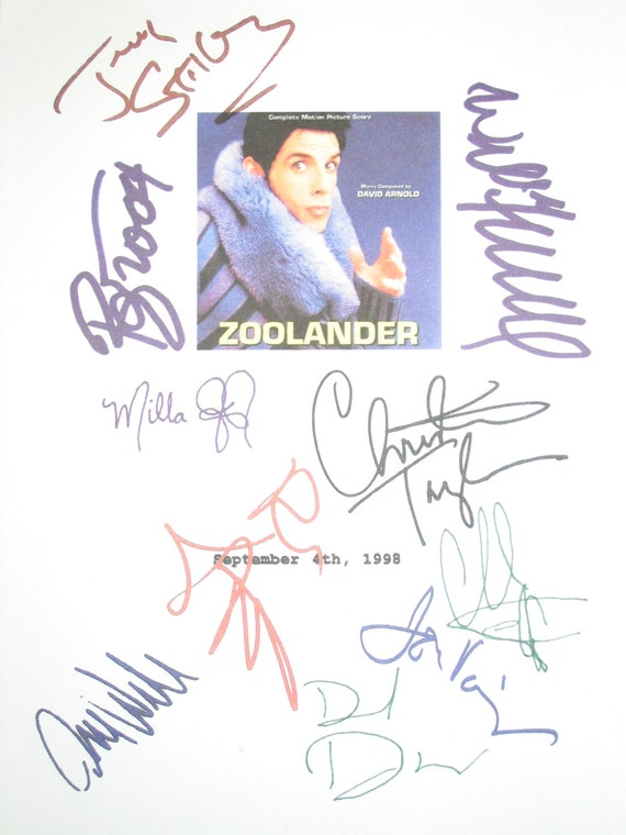 Zoolander Signed Film Movie Script Screenplay Autograph Ben Stiller Owen Wilson Will Ferrell David Bowie David Duchovny Christian Slater