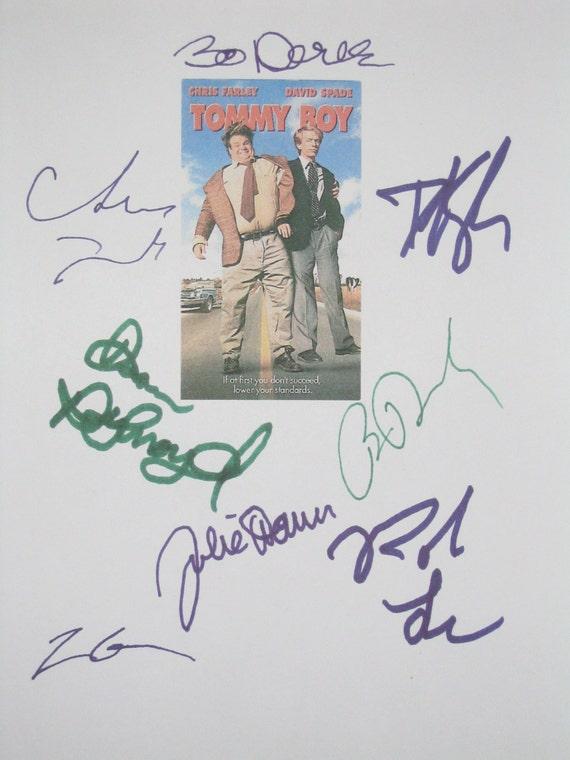 Tommy Boy Signed Film Movie Script Screenplay X8 Chris Farley David Spade Brian Dennehy Rob Lowe Bo Derek Dan Aykroyd Julie Warner autograph