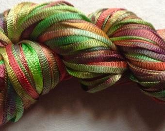 HAND-DYED RIBBON - 25gm - Tubular Nylon Ribbon - Rainbow dyed