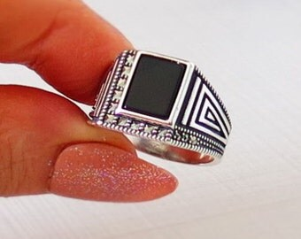 MENs RING 925 STERLING SILVER black onyx stone #656