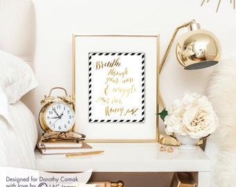 Wiggle Toes Print   Wall Decor Gold and White  8x10   Perfect for Gallery Wall or Gift   Encouragement