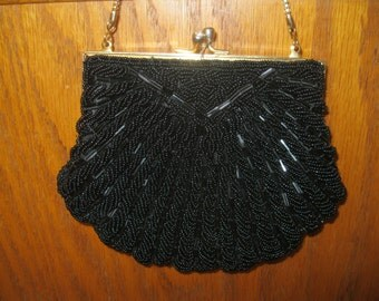 Elegant Vintage Beaded Handbag Black