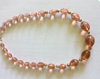 Heavenly pink glass bead necklace
