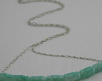 Turquoise Glass Beaded Necklace with Sterling Silver Chain