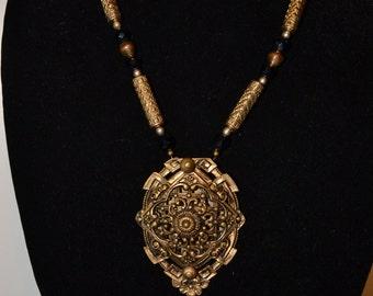 Open work metal pendant/necklace  (#48)