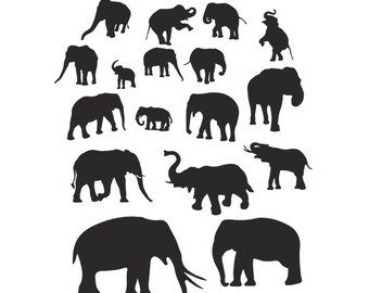 Elephant svg silhouette Cutting Template - elephant clipart files - SVG EPS Silhouette DIY Cricut Vector Instant Download