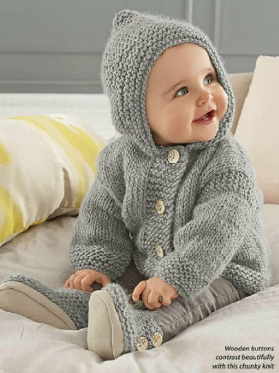 Baby Hooded Jacket, Chunky Easy Knit, Knitting Pattern ...