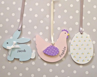 Easter Decorations. Bunny, Chicken or Egg. Personalised or blank.
