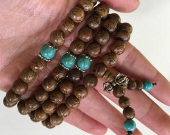 8MM Wenge Wood Beads With Turquoise Tibet Buddhist 108 Prayer Bracelet Necklace Mala