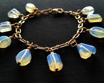Opalescent Blue Glass Bead Bracelet; Opalite Blue & Gold Bracelet