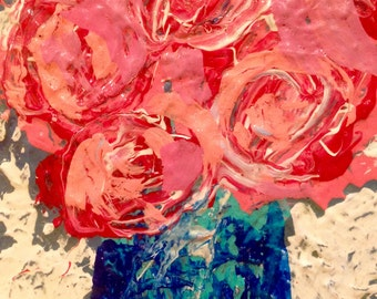 Pink and Red Roses in Blue Vase