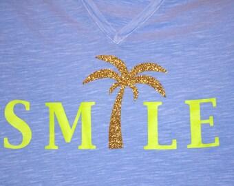 Smile Palm Tree Women's V-Neck Shirt, Palm Tree Shirt, Smile Shirt, Women's Fashion