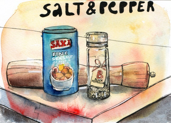 Salt and Pepper - Pen and Watercolour Painting