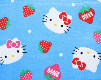 Sanrio Fabric, Hello Kitty Fabric, Hello Kitty Flannel, Flannelette, Cotton, Retro Clasic Blue, Hello Kitty and Strawberry, Blanket, 1 Metre