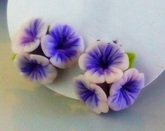 Polymer Clay Earrings I Purple/Blue Triple Flowers