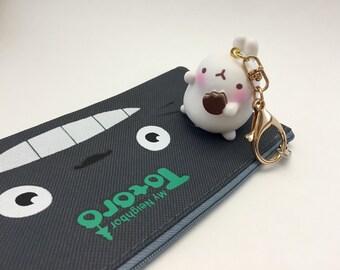 Molang rabbit keychain; Kawaii  rabbit keychain; Cute rabbit charm; Molang keychain;