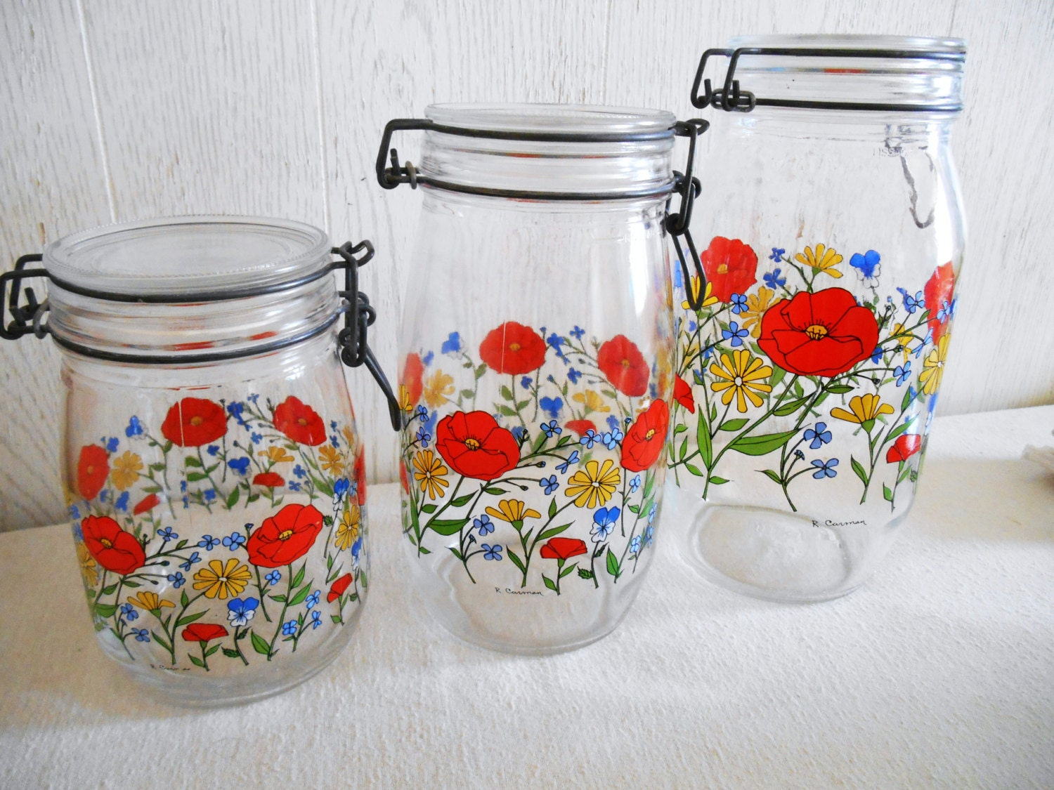 poppy floral canister set of 3 by arcorco in by
