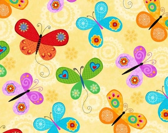 Flight of Fancy - 3389-44 Yellow Tossed Butterflies by Sharla Fults Collection from Studio E