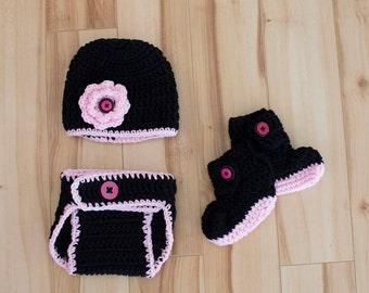 Crocheted 3 pc Black and Pink Newborn Costume, Photo Prop, Black Pink Newborn, Newborn Photo Prop, Photography, Newborn Photo Prop, Baby Set