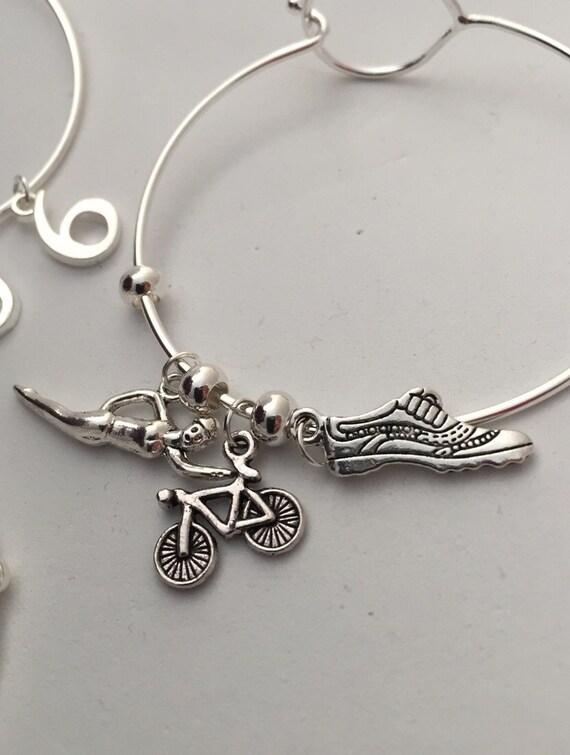 Triathlon Jewelry, Triathlete Wire Bracelet, Sports Fitness Charms, Motivational Gift, Inspirational Wire Bracelet, Swim Bike Run Gifts