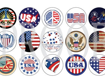Digital Bottle Cap Image Sheet - 4th of July - 1 Inch Digital Collage - Instant Download