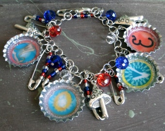 Bottle Cap and Safety Pin Love Charm Bracelet