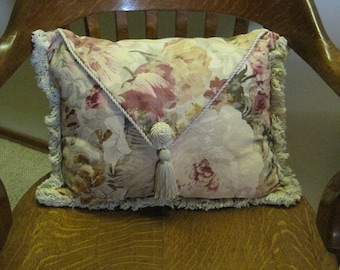 Pillow with Tassel, Pillow with Fringe, Pillow with Flowers, Throw Pillow
