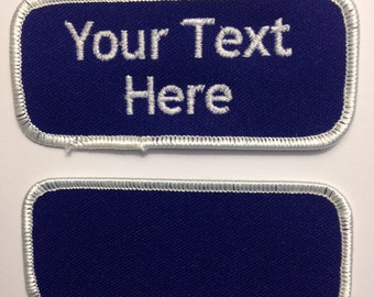 Custom (Personalized) Embroidered Name Tag Patch Royal Blue with White border