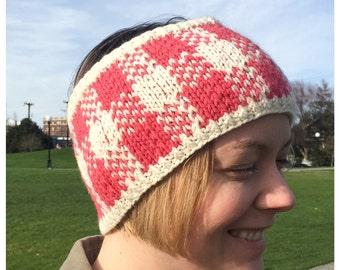 Gingham Knit Headband, Ear Warmer