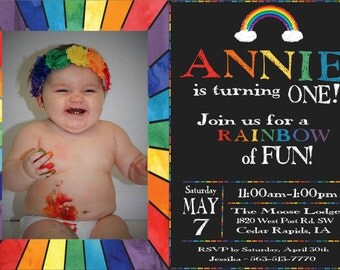 Custom Rainbow Birthday Invitation & Thank You