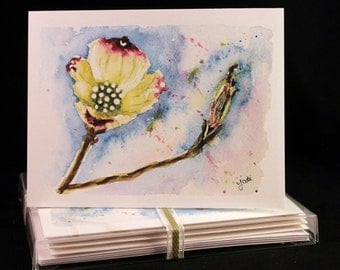 Dogwood Blossom Original Watercolor PRINT Note Card Set, Watercolor Cards, Flower Cards, Watercolor  Dogwood, Flowers, Mother's Day Cards