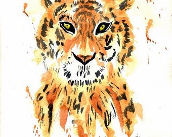 Tiger original watercolor painting, 9 x 11, Tiger painting, Animal painting, wall hanging, home decor, watercolor tiger