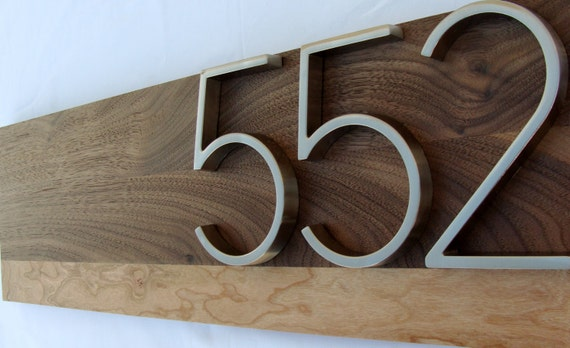 Modern Walnut and Cherry Address Plaque- Custom - House Number Sign- Address Sign- Modern House Numbers-