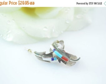 ON SALE Southwestern Multi-Stone Curved Feather Post Earrings Sterling Silver 3.9g Vintage Estate