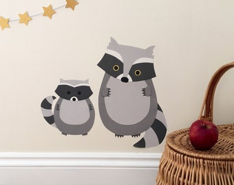 Raccoon decal - raccoon wall sticker - woodland nursery - raccoon nursery decoration - raccoon wall decal - raccoon - woodland animals