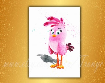 Angry Birds Chuck poster print watercolor Angry Bird