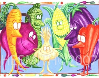 Small But Mighty - Card for Gardener - Vegetable Themed Card - Blank All Occasion Card - Food Card