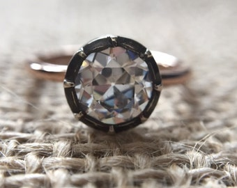Georgian Style Solitaire Engagement Ring with 1 Carat OEC (Old European Cut) CZ on 14K Gold Band