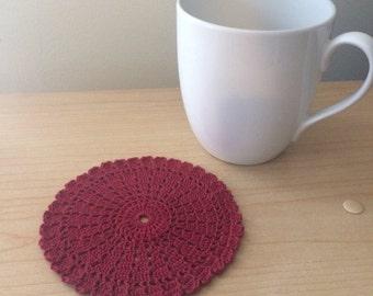 Hand Crochet Doily Coasters - Set of 4