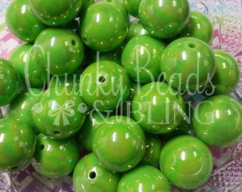 10pc. 20mm Lime AB Iridescent Beads