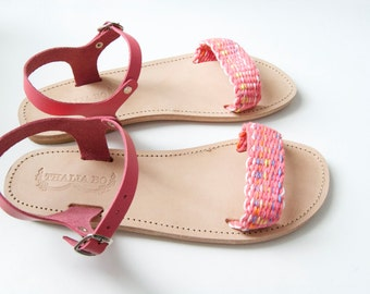 Handwoven Coral Pink Greek Sandal, Pink leather and pink/multicolor cotton yarn