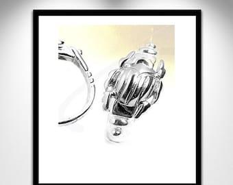 Silver _ ring silver scarab scarab ring