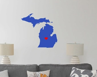 Michigan Heart Decal - Wall decal i love Michigan - hometown - vinyl wall decal Michigan - wall decal - state heart - Michigan wolverines