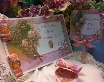 Wedding Guest Book with Rhinestone crystals Pink Rose Quartz