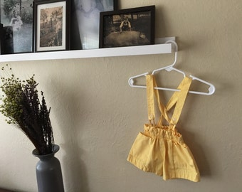 Yellow Pocket Shorts with suspenders