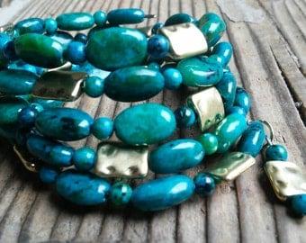 Australian jasper and gold bracelet