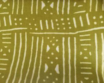 Green & Cream African Wax Fabric - 1 yard