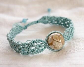 Spring color bracelet natural stone white Fossil Coral